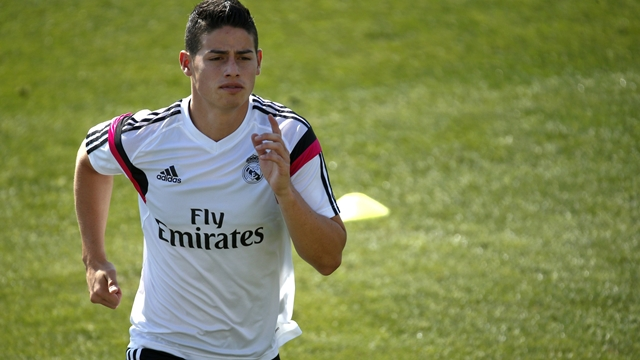 Real Madrid's James Rodriguez attends a training session at Valdebebas training grounds